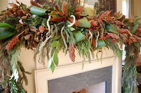garland ideas christmas mantel decorated with natural greenery in