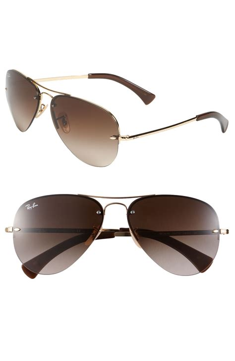 semi rimless sunglasses ban 59mm semi rimless aviator sunglasses in gold