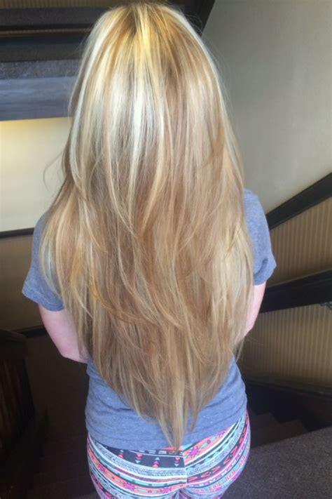 square vs vertical layer haircut long hair with v shaped cut hair pinterest long