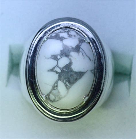 sterling silver mens white turquoise gemstone ring
