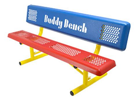 playground buddy bench perforated steel park style buddy bench belson outdoors 174