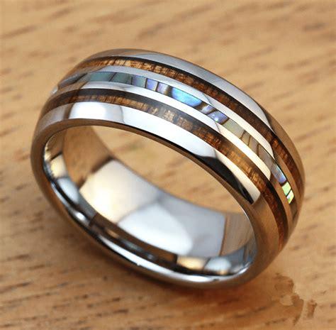 mens mm titanium wedding ring  double wood pearl