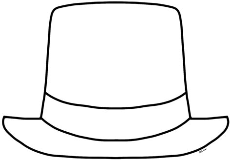 hat outline template top hat outline clipartion
