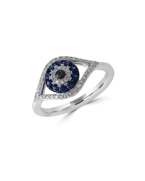 Eyecandy Blue Sapphire Normal Only effy royale bleu sapphire and 14k white gold evil eye ring in blue lyst