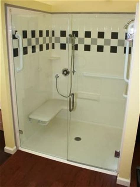Handicap Shower With Color Accents Trackless Shower Door Handicap Shower Door
