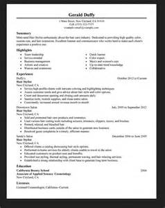 hairdresser hair stylist resume exle resumes design