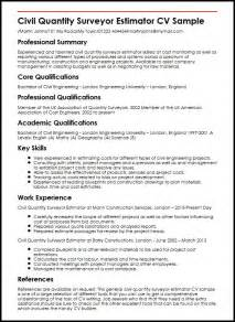 Roofing Estimator Sle Resume by Civil Quantity Surveyor Estimator Cv Sle Myperfectcv