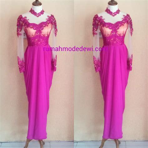 Kebaya Rok Panjang Wxo 04 dress kebaya pink dengan rok drapery panjang