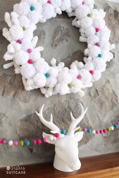 happy holidays christmas pom pom wreath