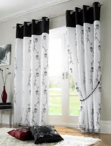 White And Black Curtains Tahiti Embroidered Voile Fully Lined Eyelet Curtains Black White Ready Made Curtains Ready