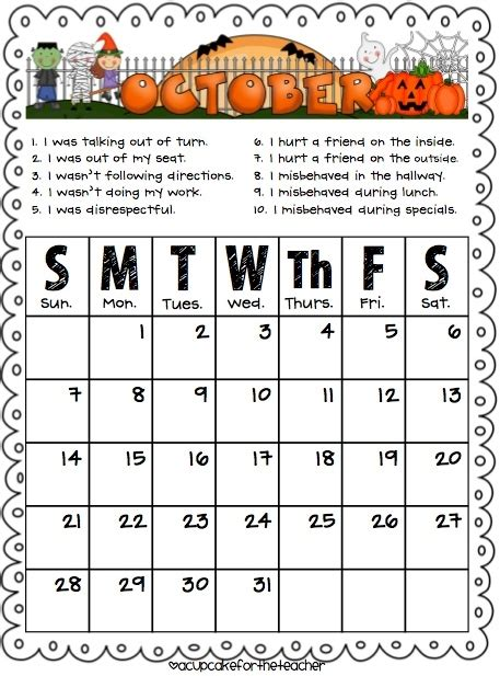 monthly behavior calendar template 2012 2013 monthly behavior charts for daily parent