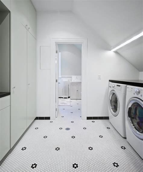 flooring in the bathroom and laundry room penny tile bathroom floor ideas laundry room scandinavian