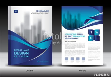 company profile layout software quot annual report brochure flyer template blue cover design