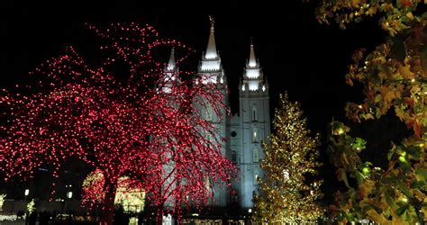 mormon temple in salt lake city utah night with christmas