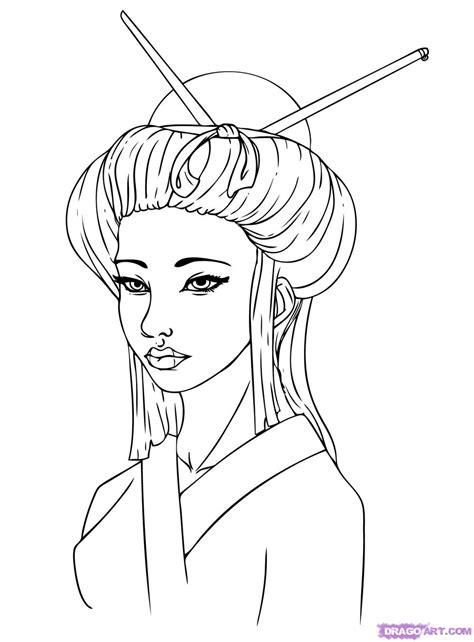 Step 5. How to Draw a Geisha Girl
