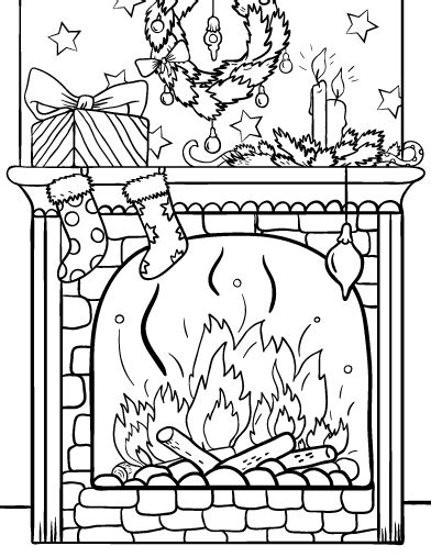 coloring page christmas fireplace christmas tree and fireplace drawing www imgkid com