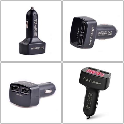 Car Charger 4 In 1 Voltmetereremetertemperature 31a Output Vst מוצר universal 4 in 1 dual usb socket car charger adapter voltage dc 5v 3 1a output