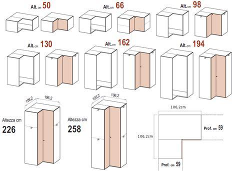 cabina armadio ad angolo le misure degli armadi dielle
