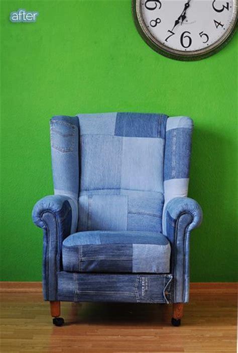 Kursi Sofa Unik inspirasi permak celana jins lama jadi pelapis sofa dan