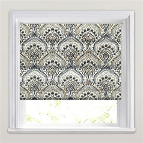 black patterned roman shades retro grey beige black white paisley patterned roman