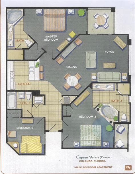 floor plan resort cypress pointe 3 bedroom