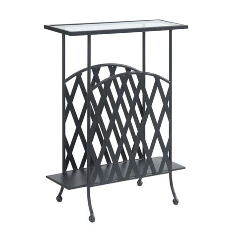 wrought iron glass end table wrought iron glass side table in black 227145