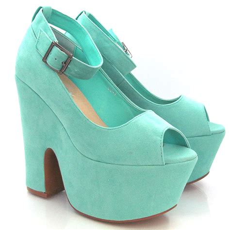 high heel platform demi wedge womens peep toe ankle