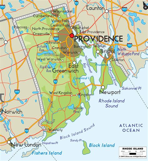 map of ri physical map of rhode island ezilon maps