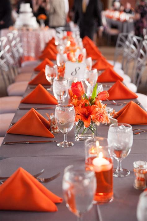 gray and orange wedding simple centerpieces for feasting tables st 243 ł in 2019 orange
