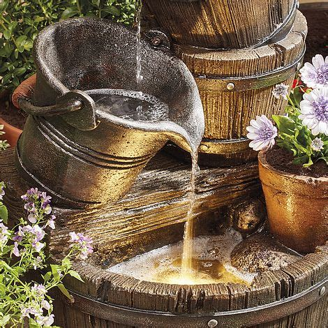 barrel planter with 3 pots resin water feature cascading barrel water feature and planter thompson