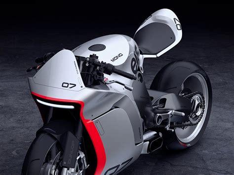 huge moto mono racer  aggressive  refined motorcycle