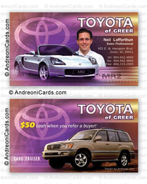 Toyota Card Toyota Business Cards Templates
