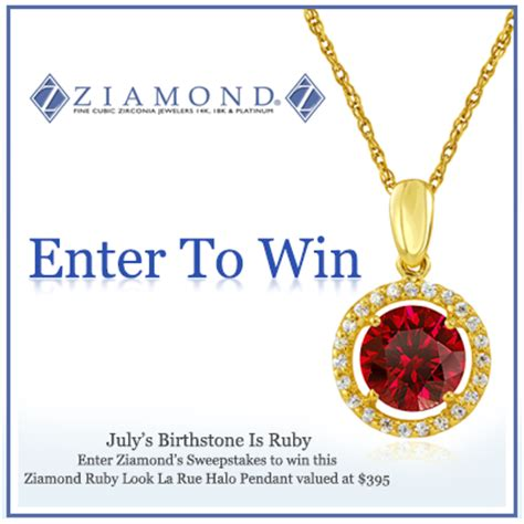 Equal Diamond Giveaway - round man made ruby halo pendant 14k gold sweepstakes