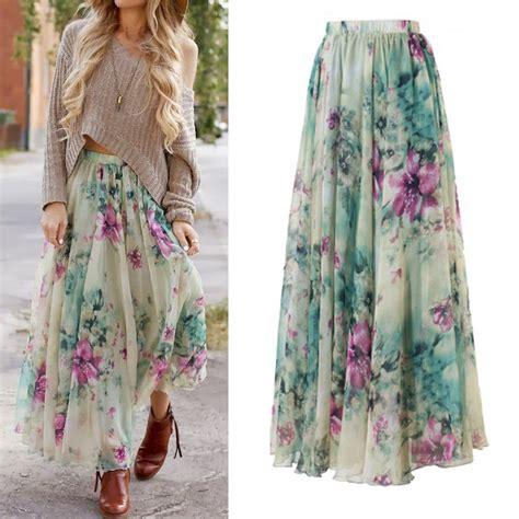 boho floral print maxi skirt summer chiffon skirt s m l xl in skirts from