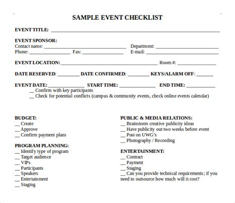 event template html sle event checklist template 6 free documents
