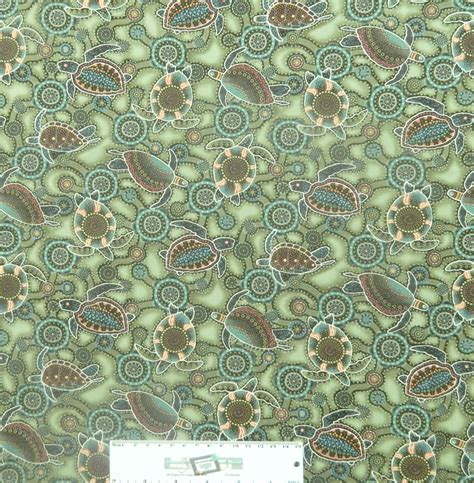 Patchwork Fabric Australia - patchwork quilting sewing fabric green turtles
