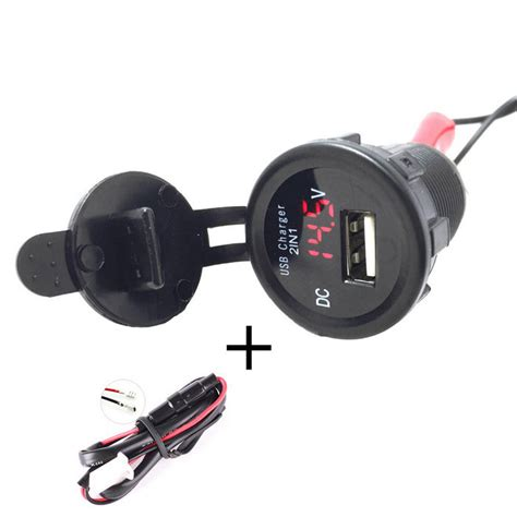 Charger Voltmeter 2 1a Untuk Mobil Xpander car motorcycle waterproof 2 1a usb charger w voltmeter light free shipping dealextreme