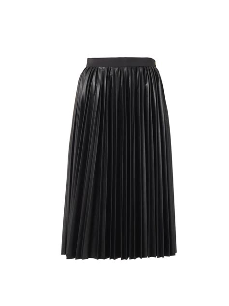 lanvin pleated faux leather midi skirt in black lyst