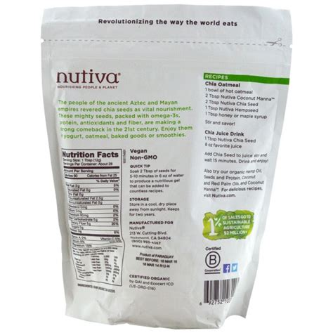 Organic Chia Seed nutiva organic chia seeds 340g