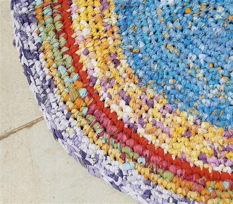 how to make rag rugs from sheets crocheted rag rug from sheets in progress creative