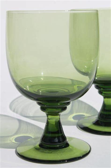 vintage green glass water goblets  large wine glasses