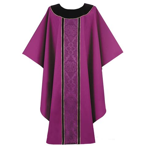pattern clergy shirt clergy priest apparel chasuble purple black colar ornate