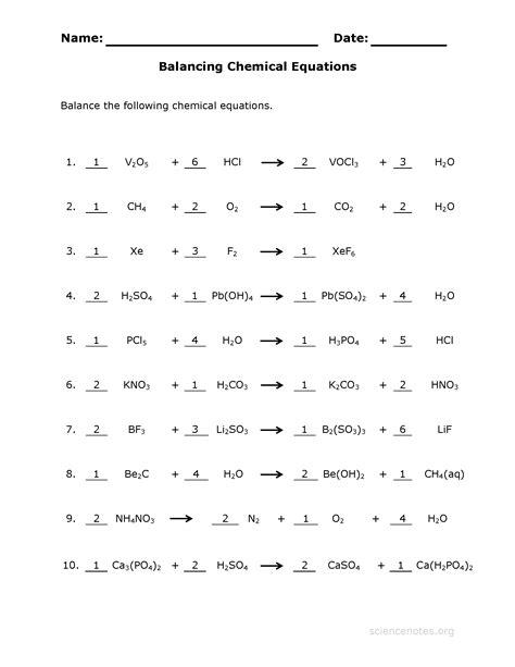 Balancing Chemical Equations Worksheet 1 50 Answer Key
