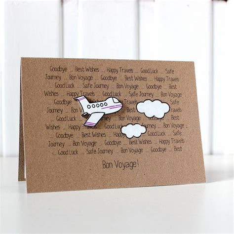 Goodbye Handmade Cards - personalised aeroplane bon voyage goodbye card by