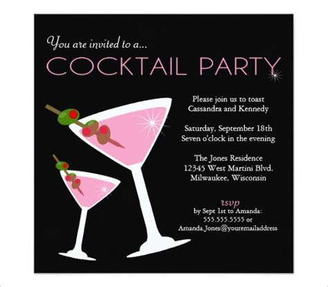 Free Templates For Cocktail Invitations | 19 stunning cocktail party invitation templates designs
