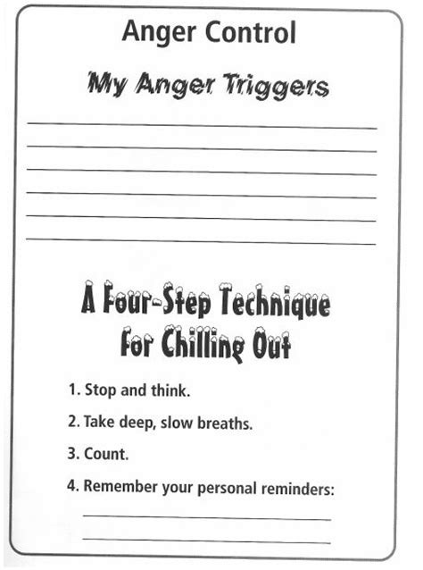 Anger Management Worksheets Pdf by Baillargeonmusic Special Education Practicum
