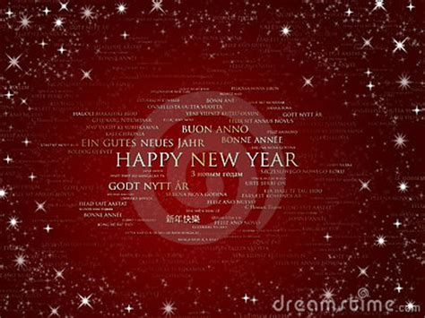 happy  year sparkling red  languages stock photo image