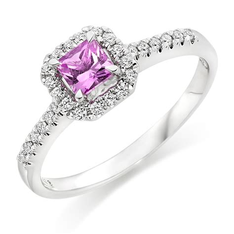 18ct white gold and pink sapphire ring 0000167