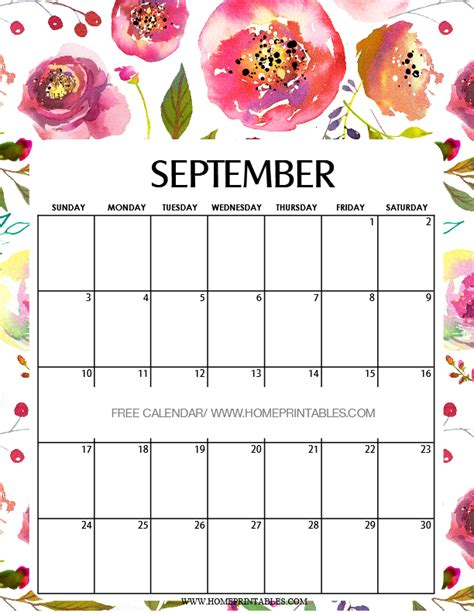 Calendar Printable September 2017 Calendar September 2017 8 Free Pretty Printables Home