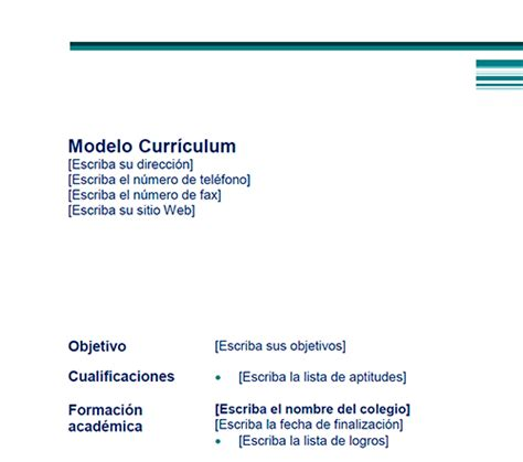 Modelo Curriculum Vitae No Documentado Descargar Modelos De Curriculum Vitae No Documentado